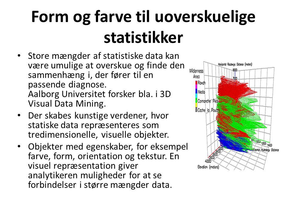 Form og farve til uoverskuelige statistikker Store mængder af statistiske data kan være umulige at overskue og finde den sammenhæng i, der fører til en passende diagnose.