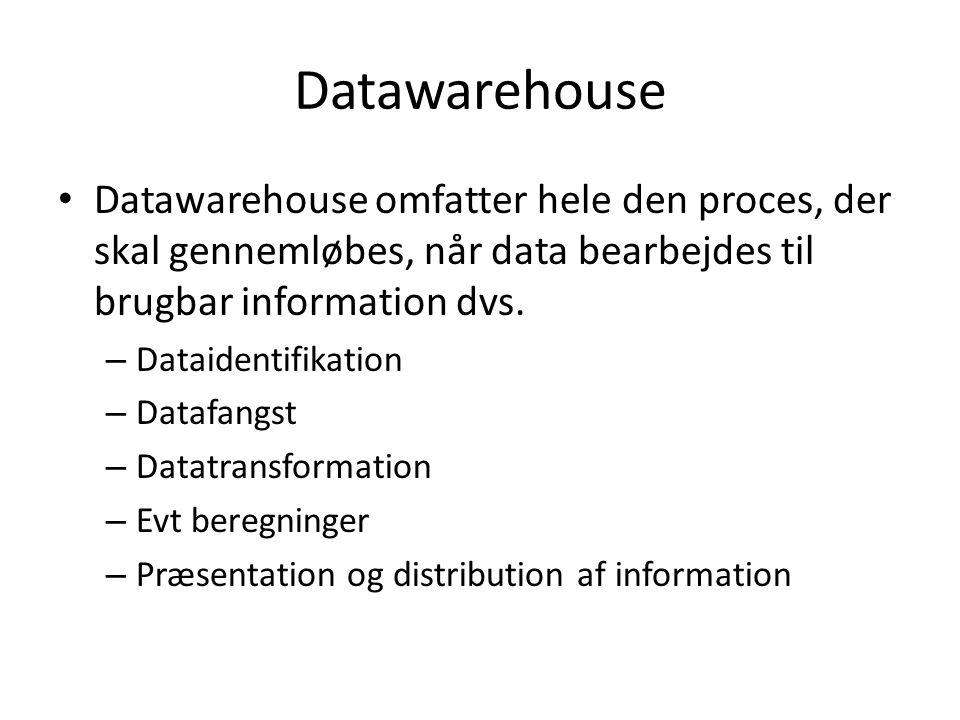 Datawarehouse Datawarehouse omfatter hele den proces, der skal gennemløbes, når data bearbejdes til brugbar information dvs.