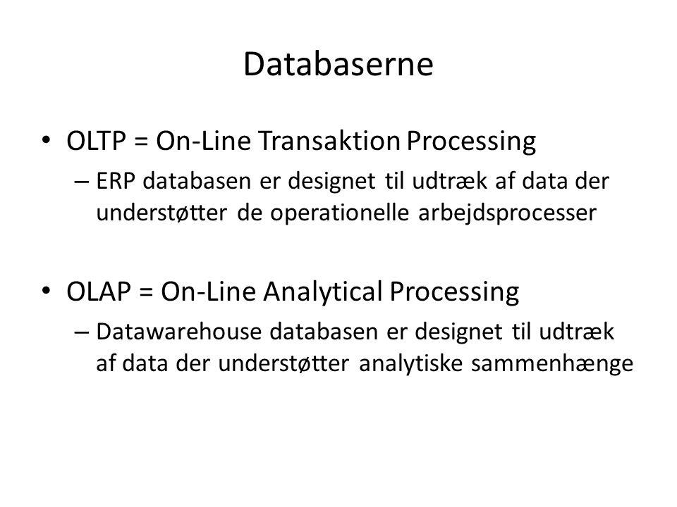 Databaserne OLTP = On-Line Transaktion Processing – ERP databasen er designet til udtræk af data der understøtter de operationelle arbejdsprocesser OLAP = On-Line Analytical Processing – Datawarehouse databasen er designet til udtræk af data der understøtter analytiske sammenhænge