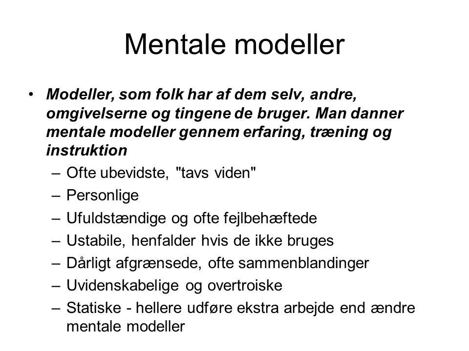 Mentale modeller Modeller, som folk har af dem selv, andre, omgivelserne og tingene de bruger.