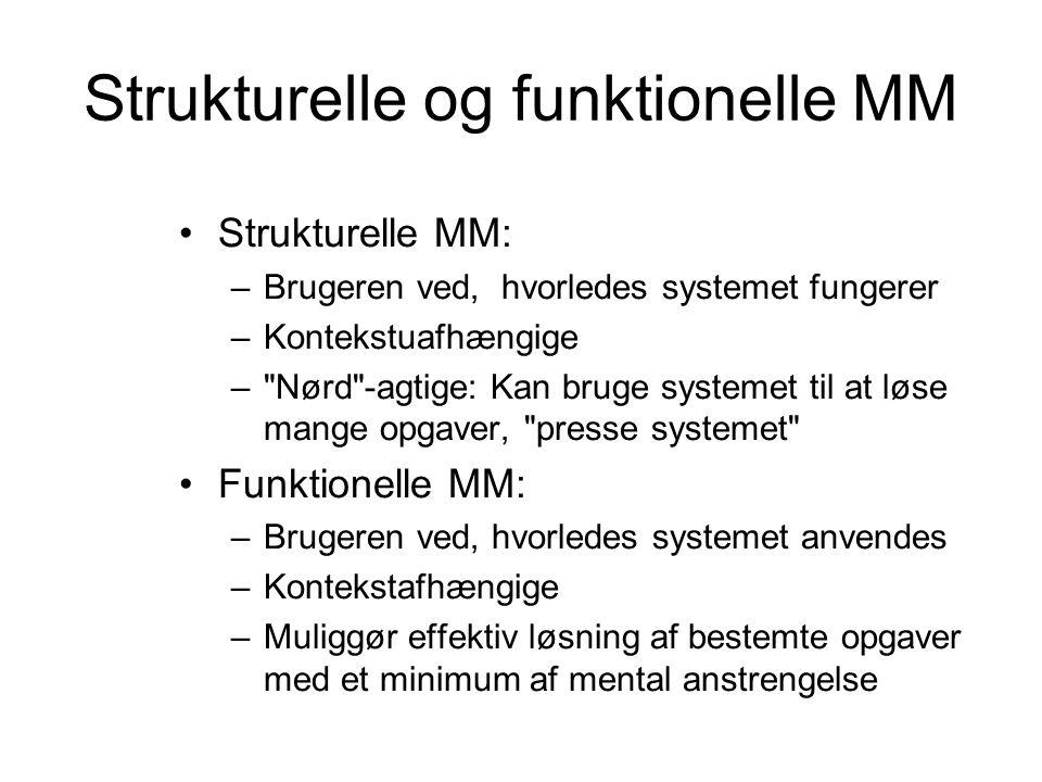Strukturelle og funktionelle MM Strukturelle MM: –Brugeren ved, hvorledes systemet fungerer –Kontekstuafhængige – Nørd -agtige: Kan bruge systemet til at løse mange opgaver, presse systemet Funktionelle MM: –Brugeren ved, hvorledes systemet anvendes –Kontekstafhængige –Muliggør effektiv løsning af bestemte opgaver med et minimum af mental anstrengelse