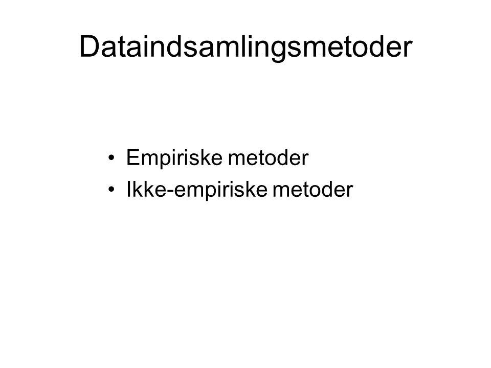Dataindsamlingsmetoder Empiriske metoder Ikke-empiriske metoder