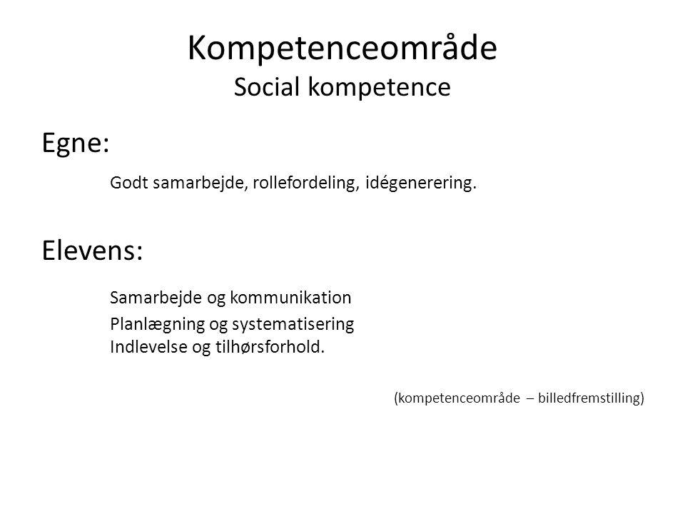 Kompetenceområde Social kompetence Egne: Godt samarbejde, rollefordeling, idégenerering.