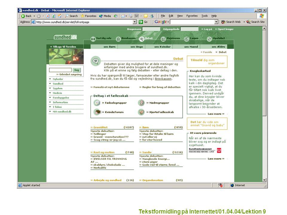 Tekstformidling på Internettet/01.04.04/Lektion 9