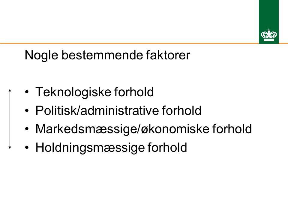 Nogle bestemmende faktorer Teknologiske forhold Politisk/administrative forhold Markedsmæssige/økonomiske forhold Holdningsmæssige forhold