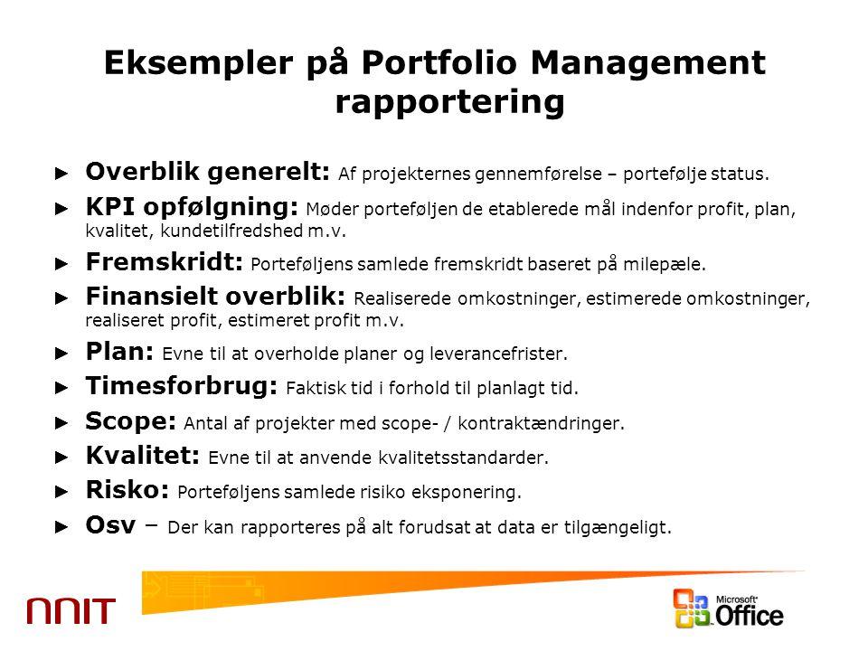 Eksempler på Portfolio Management rapportering ► Overblik generelt: Af projekternes gennemførelse – portefølje status.