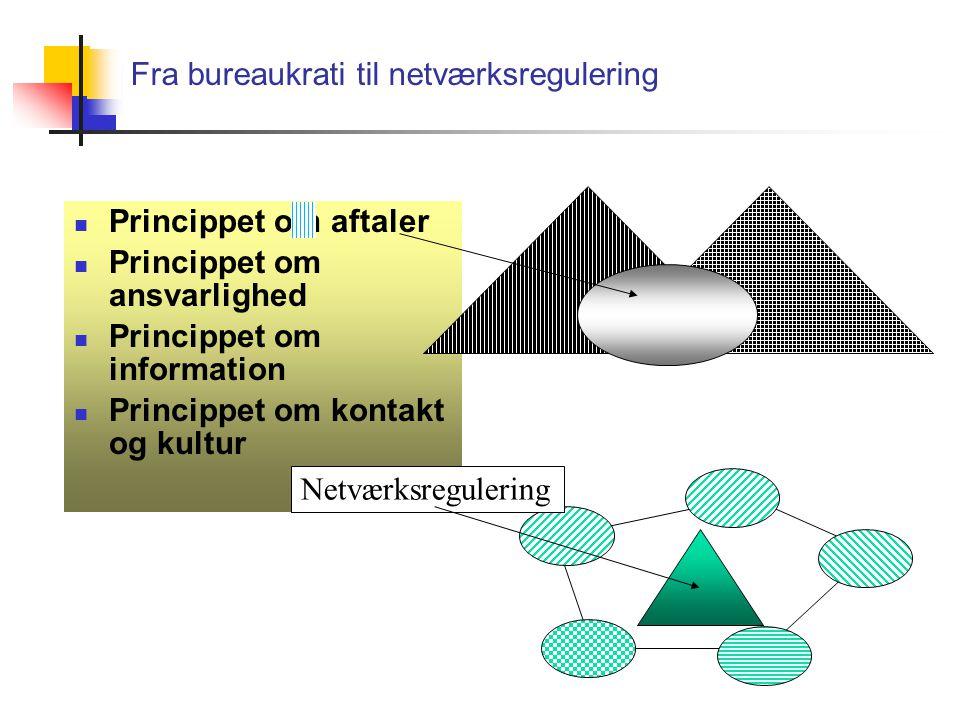Fra bureaukrati til netværksregulering Princippet om aftaler Princippet om ansvarlighed Princippet om information Princippet om kontakt og kultur Netværksregulering