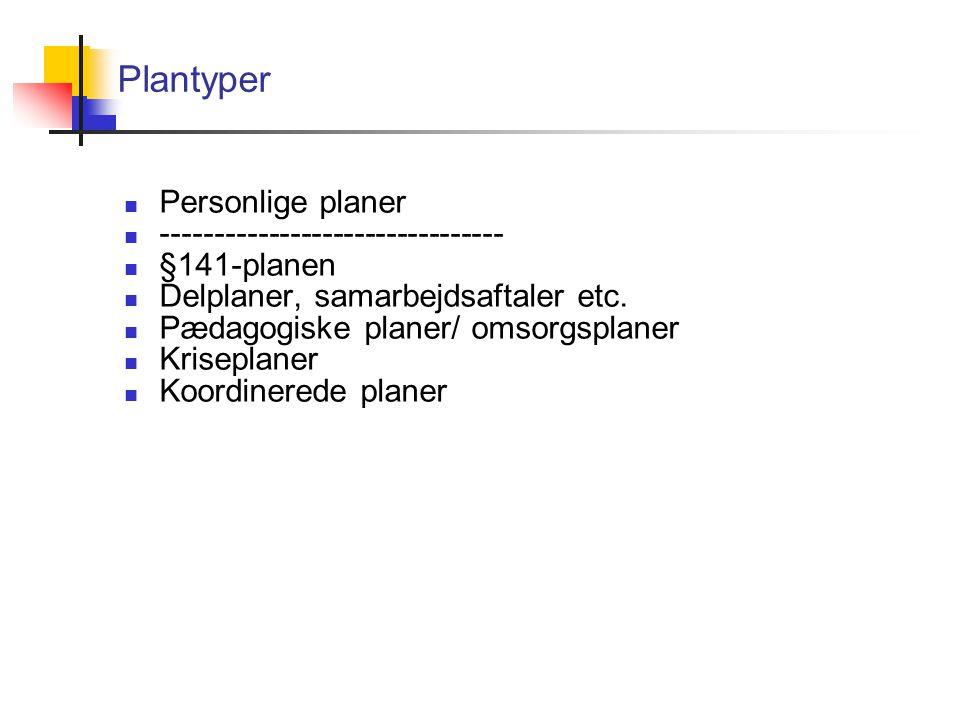 Plantyper Personlige planer -------------------------------- §141-planen Delplaner, samarbejdsaftaler etc.