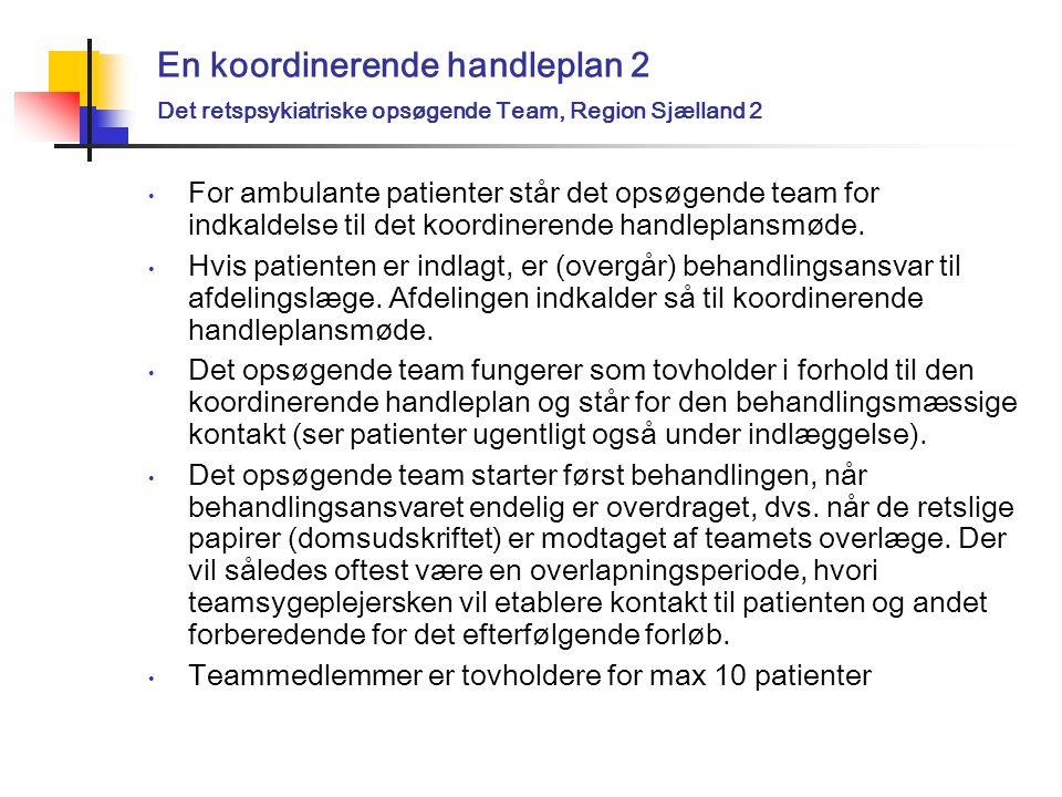 En koordinerende handleplan 2 Det retspsykiatriske opsøgende Team, Region Sjælland 2 For ambulante patienter står det opsøgende team for indkaldelse til det koordinerende handleplansmøde.