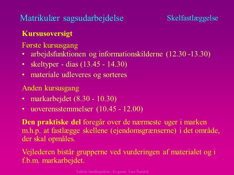 Matrikulær sagsudarbejdelse arbejdsfunktionen og informationskilderne (12.30 -13.30) skeltyper - dias (13.45 - 14.30) materiale udleveres og sorteres Skelfastlæggelse Kursusoversigt Anden kursusgang Første kursusgang markarbejdet (8.30 - 10.30) uoverensstemmelser (10.45 - 12.00) Den praktiske del foregår over de nærmeste uger i marken m.h.p.