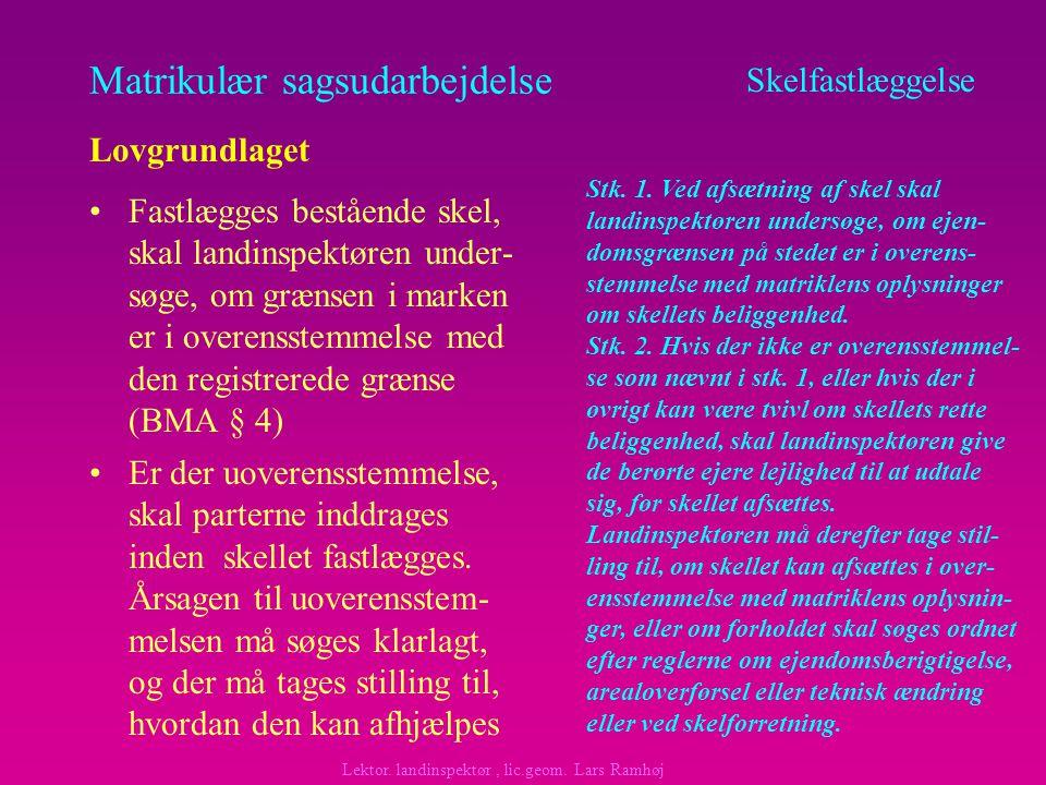Matrikulær sagsudarbejdelse Fastlægges bestående skel, skal landinspektøren under- søge, om grænsen i marken er i overensstemmelse med den registrerede grænse (BMA § 4) Skelfastlæggelse Lovgrundlaget Lektor.