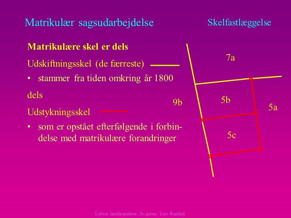 Matrikulær sagsudarbejdelse stammer fra tiden omkring år 1800 Skelfastlæggelse Matrikulære skel er dels dels Udskiftningsskel (de færreste) som er opstået efterfølgende i forbin- delse med matrikulære forandringer Udstykningsskel 7a 5a 9b 5b 5c Lektor.