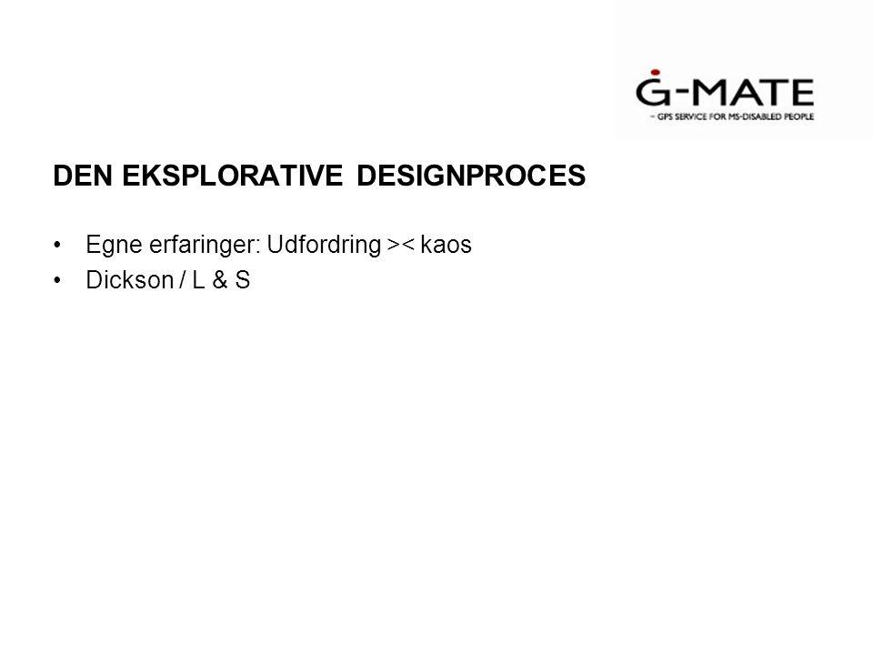 DEN EKSPLORATIVE DESIGNPROCES Egne erfaringer: Udfordring >< kaos Dickson / L & S