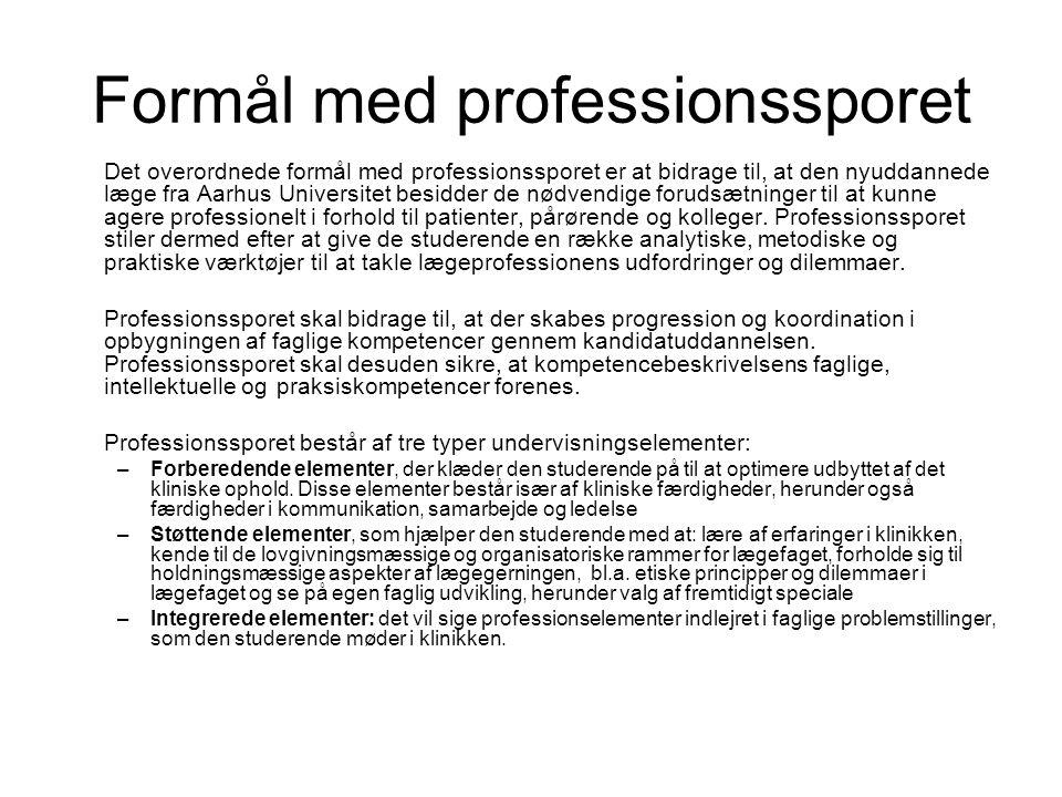Formål med professionssporet Det overordnede formål med professionssporet er at bidrage til, at den nyuddannede læge fra Aarhus Universitet besidder de nødvendige forudsætninger til at kunne agere professionelt i forhold til patienter, pårørende og kolleger.