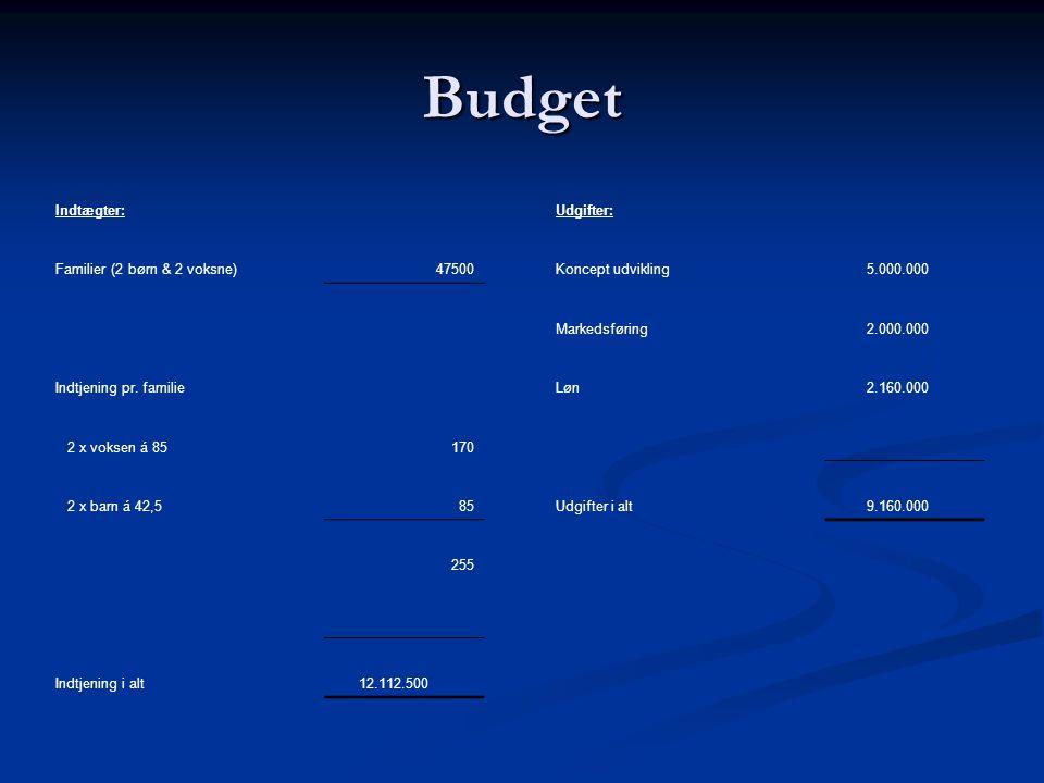 Budget Indtægter:Udgifter: Familier (2 børn & 2 voksne)47500Koncept udvikling 5.000.000 Markedsføring 2.000.000 Indtjening pr.