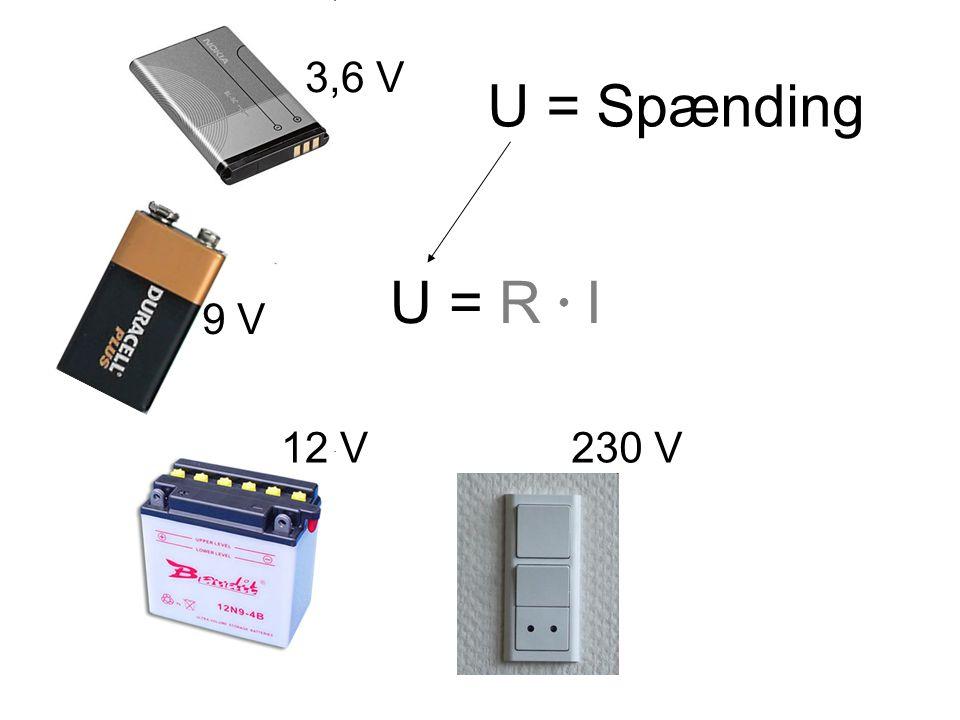 U = R ● I U = Spænding 3,6 V 9 V 12 V 230 V Spænding måles i volt = V