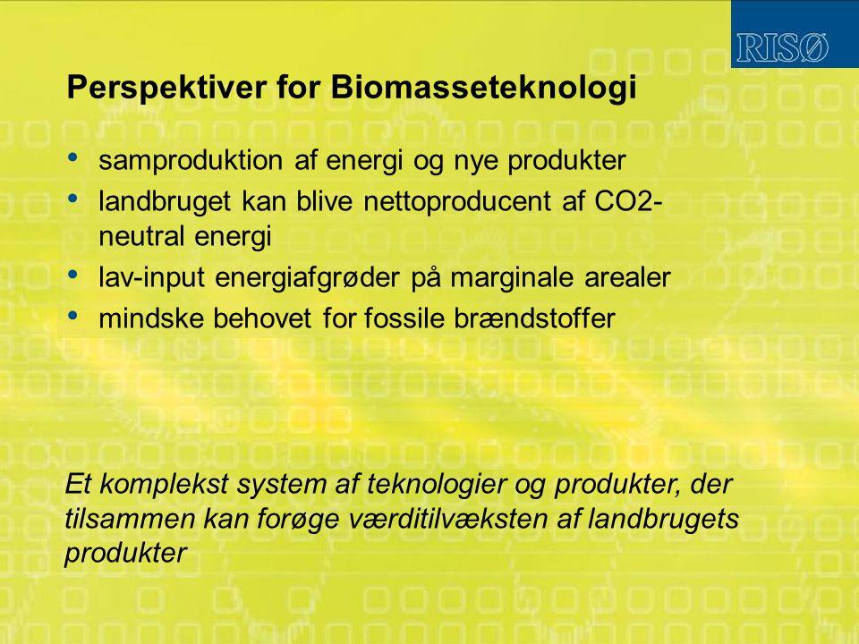 Perspektiver for Biomasseteknologi samproduktion af energi og nye produkter landbruget kan blive nettoproducent af CO2- neutral energi lav-input energiafgrøder på marginale arealer mindske behovet for fossile brændstoffer Et komplekst system af teknologier og produkter, der tilsammen kan forøge værditilvæksten af landbrugets produkter