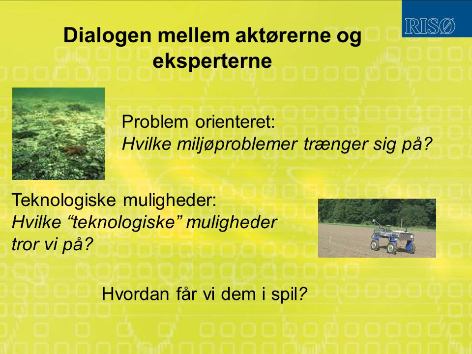 Dialogen mellem aktørerne og eksperterne Problem orienteret: Hvilke miljøproblemer trænger sig på.
