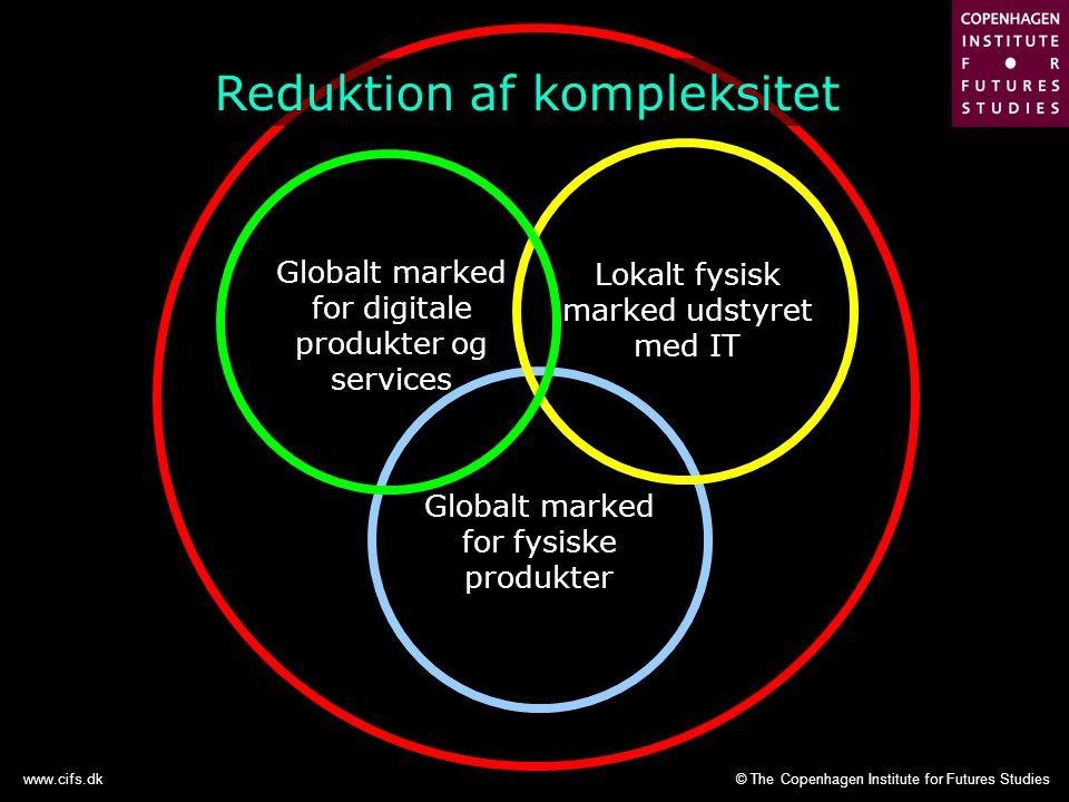 © The Copenhagen Institute for Futures Studieswww.cifs.dk Globalt marked for fysiske produkter Lokalt fysisk marked udstyret med IT Globalt marked for digitale produkter og services Reduktion af kompleksitet