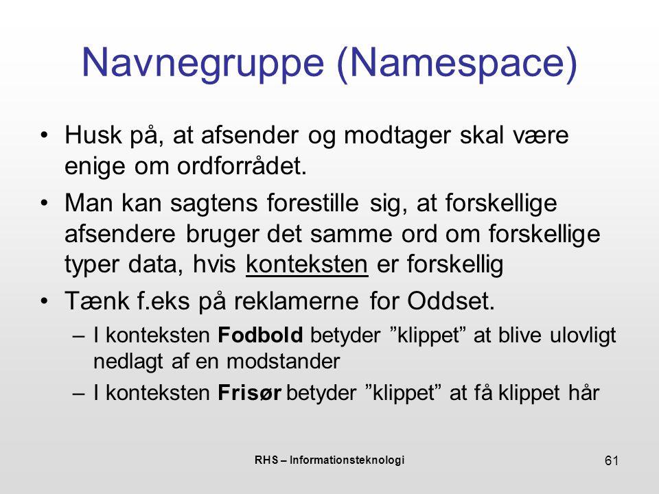 RHS – Informationsteknologi 61 Navnegruppe (Namespace) Husk på, at afsender og modtager skal være enige om ordforrådet.