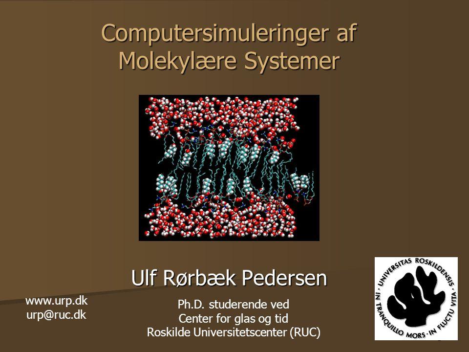1 Computersimuleringer af Molekylære Systemer Ulf Rørbæk Pedersen www.urp.dk urp@ruc.dk Ph.D.
