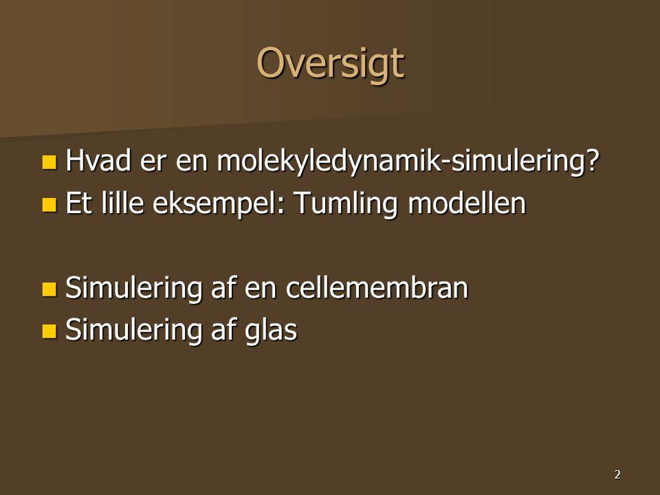 2 Oversigt Hvad er en molekyledynamik-simulering. Hvad er en molekyledynamik-simulering.