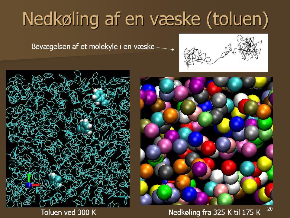 20 Nedkøling af en væske (toluen) Toluen ved 300 KNedkøling fra 325 K til 175 K Bevægelsen af et molekyle i en væske