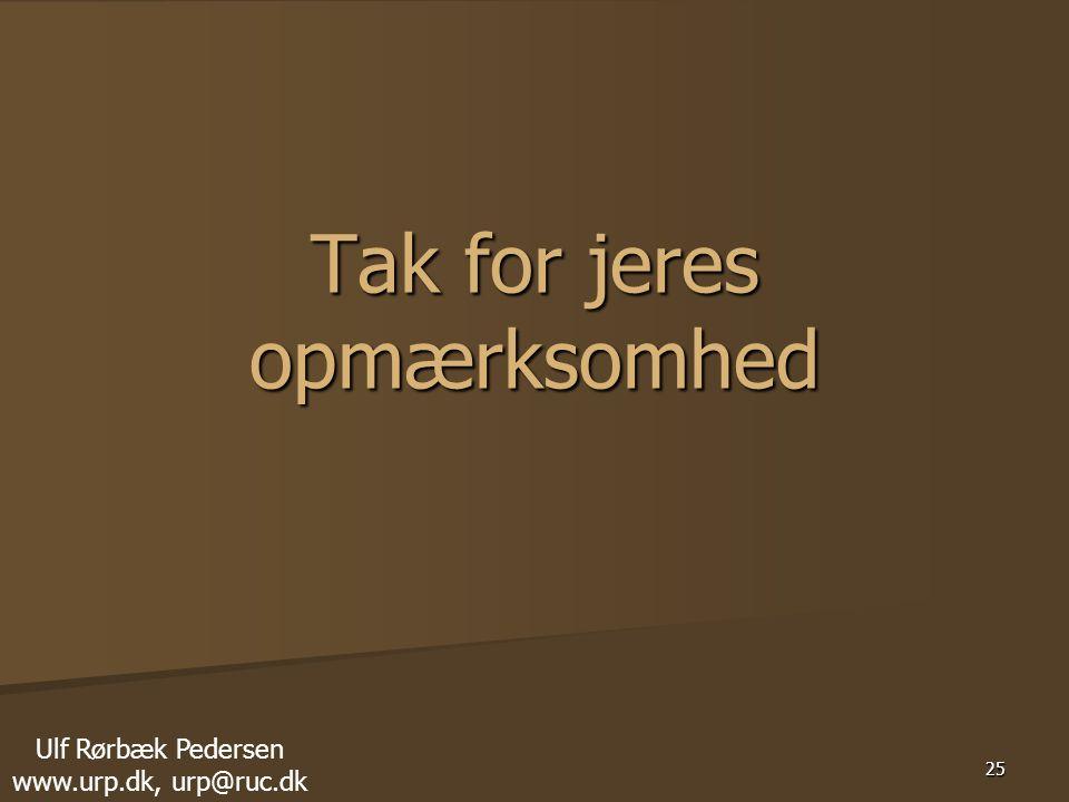 25 Tak for jeres opmærksomhed Ulf Rørbæk Pedersen www.urp.dk, urp@ruc.dk