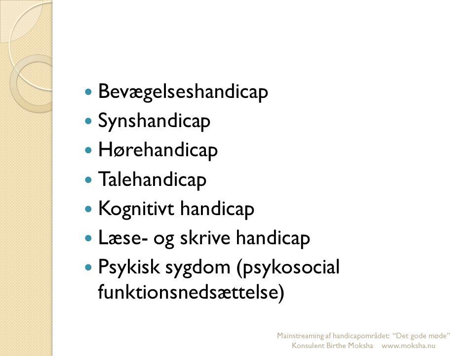 Bevægelseshandicap Synshandicap Hørehandicap Talehandicap Kognitivt handicap Læse- og skrive handicap Psykisk sygdom (psykosocial funktionsnedsættelse) Mainstreaming af handicapområdet: Det gode møde Konsulent Birthe Moksha www.moksha.nu