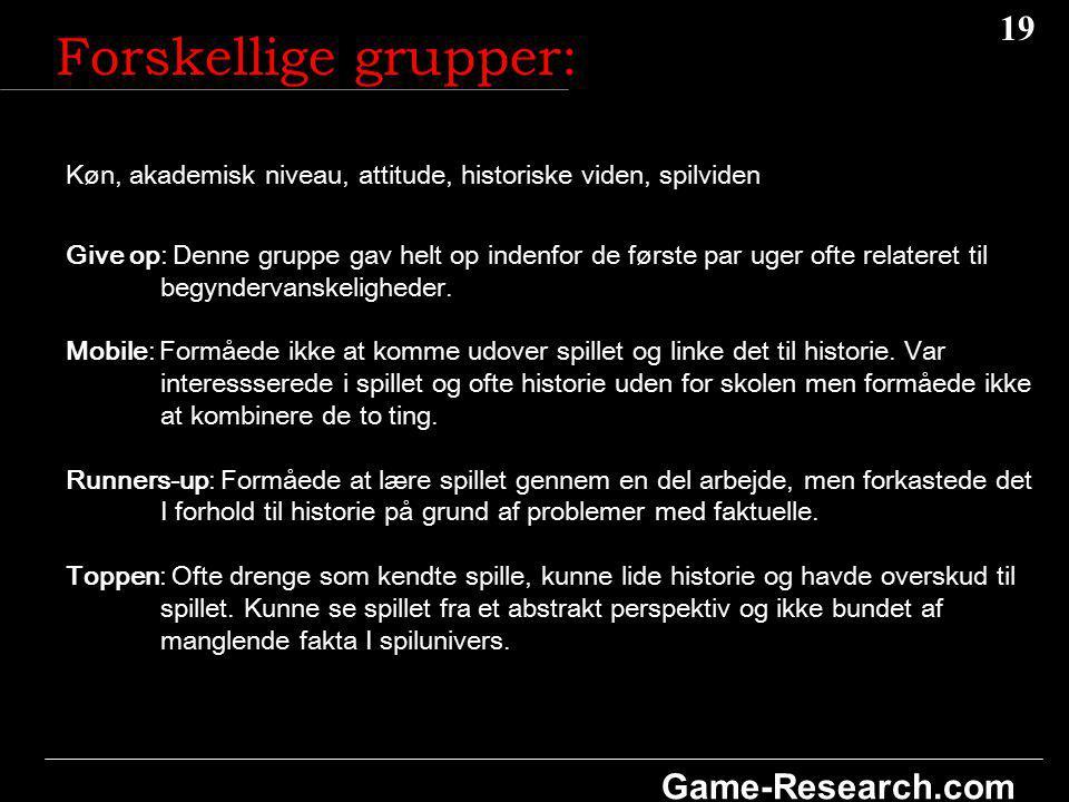 19 Game-Research.com Køn, akademisk niveau, attitude, historiske viden, spilviden Give op: Denne gruppe gav helt op indenfor de første par uger ofte relateret til begyndervanskeligheder.