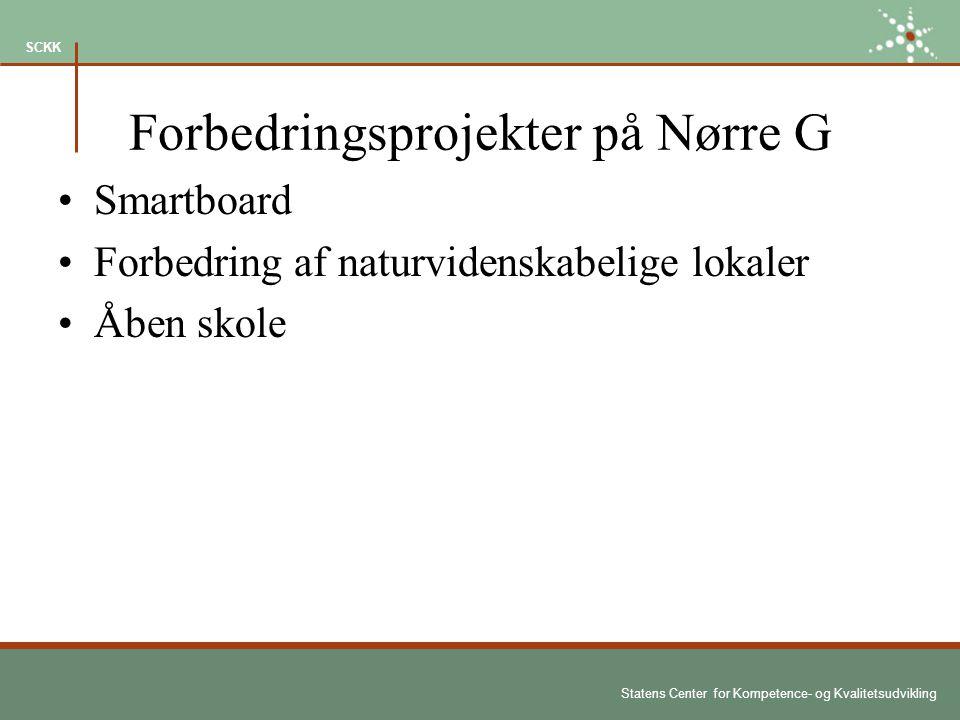 Statens Center for Kompetence- og Kvalitetsudvikling SCKK Forbedringsprojekter på Nørre G Smartboard Forbedring af naturvidenskabelige lokaler Åben skole