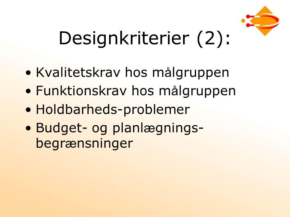 Designkriterier (2): Kvalitetskrav hos m å lgruppen Funktionskrav hos m å lgruppen Holdbarheds-problemer Budget- og planl æ gnings- begr æ nsninger