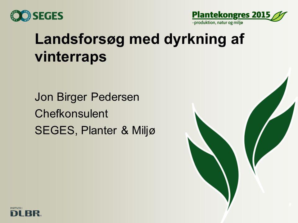 Landsforsøg med dyrkning af vinterraps Jon Birger Pedersen Chefkonsulent SEGES, Planter & Miljø