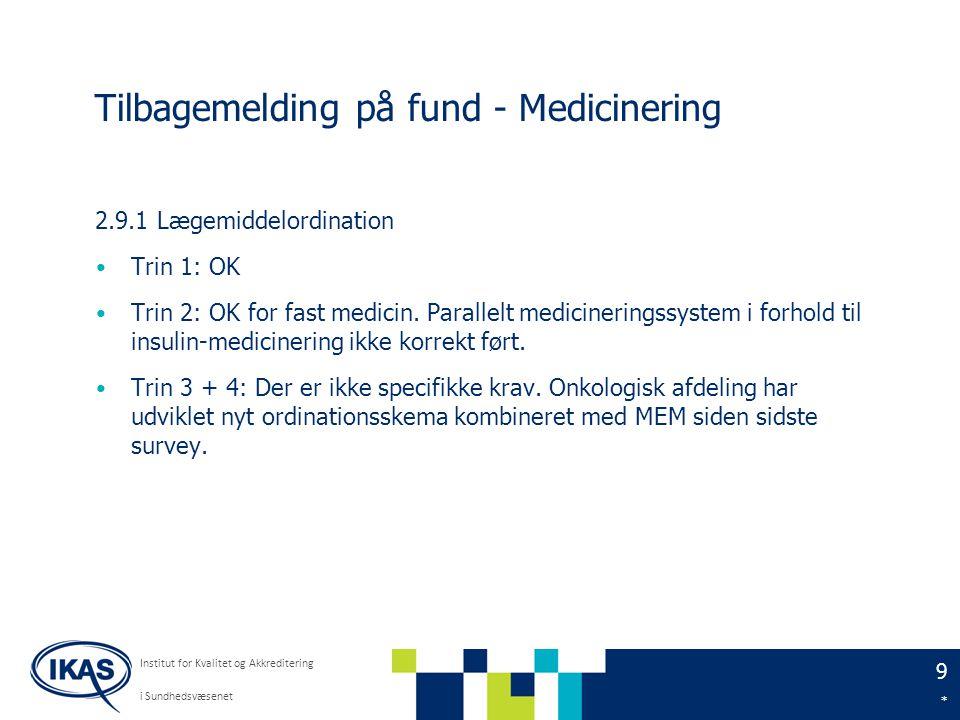 9 * Institut for Kvalitet og Akkreditering i Sundhedsvæsenet Tilbagemelding på fund - Medicinering 2.9.1 Lægemiddelordination Trin 1: OK Trin 2: OK for fast medicin.