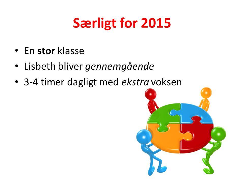 Særligt for 2015 En stor klasse Lisbeth bliver gennemgående 3-4 timer dagligt med ekstra voksen