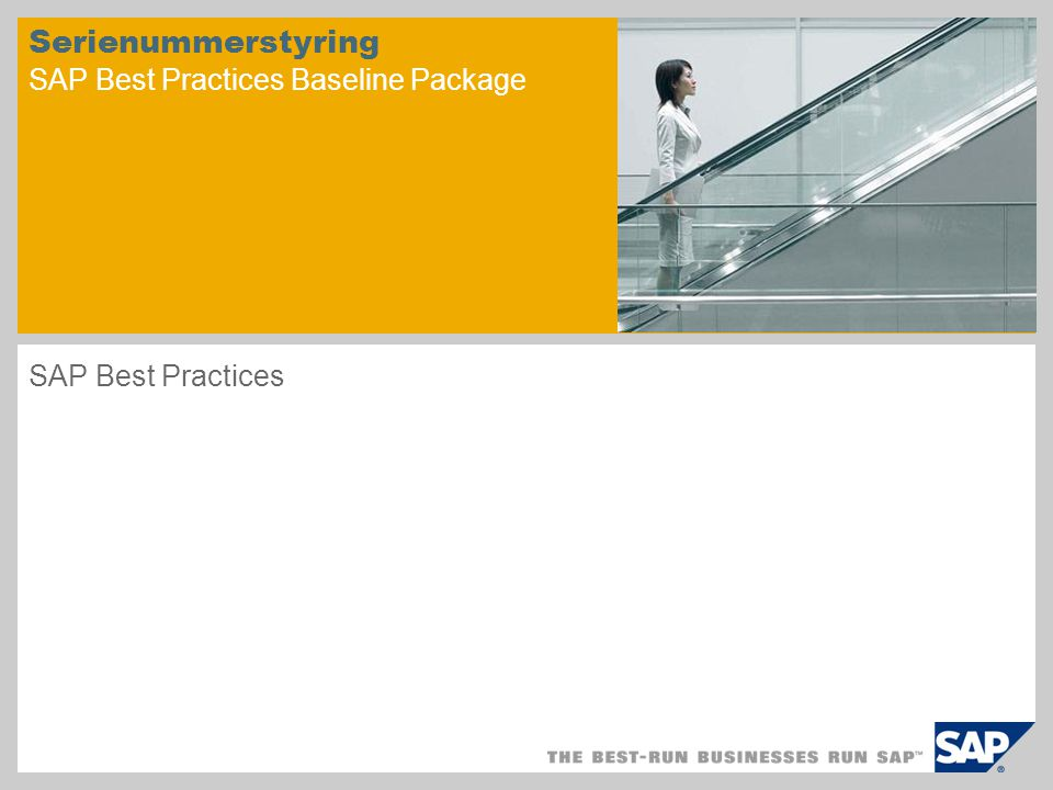 Serienummerstyring SAP Best Practices Baseline Package SAP Best Practices