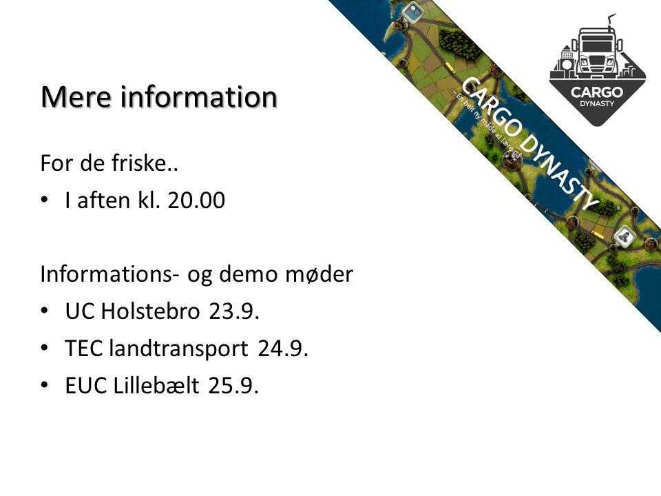 Mere information For de friske.. I aften kl. 20.00 Informations- og demo møder UC Holstebro 23.9.