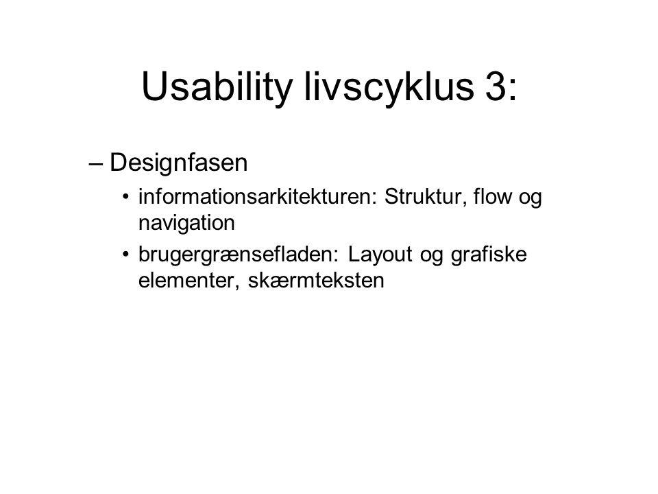 Usability livscyklus 3: –Designfasen informationsarkitekturen: Struktur, flow og navigation brugergrænsefladen: Layout og grafiske elementer, skærmteksten