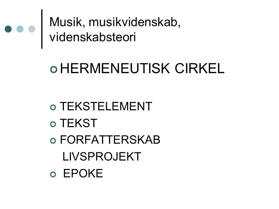 Musik, musikvidenskab, videnskabsteori HERMENEUTISK CIRKEL TEKSTELEMENT TEKST FORFATTERSKAB LIVSPROJEKT EPOKE