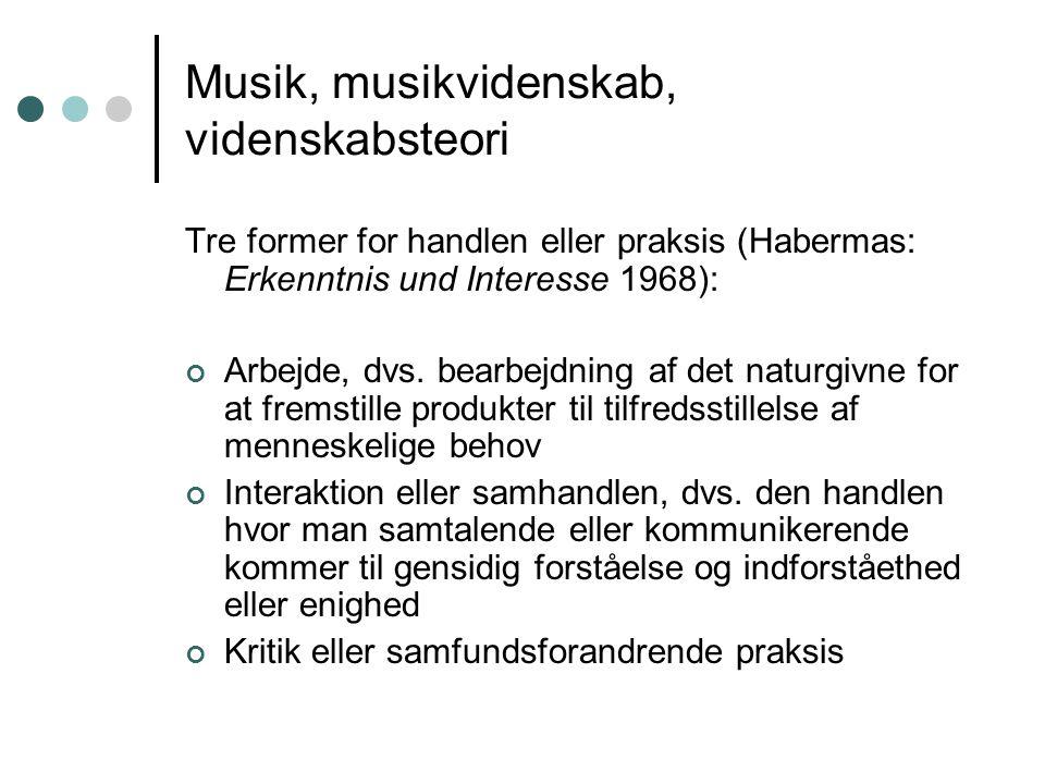 Musik, musikvidenskab, videnskabsteori Tre former for handlen eller praksis (Habermas: Erkenntnis und Interesse 1968): Arbejde, dvs.