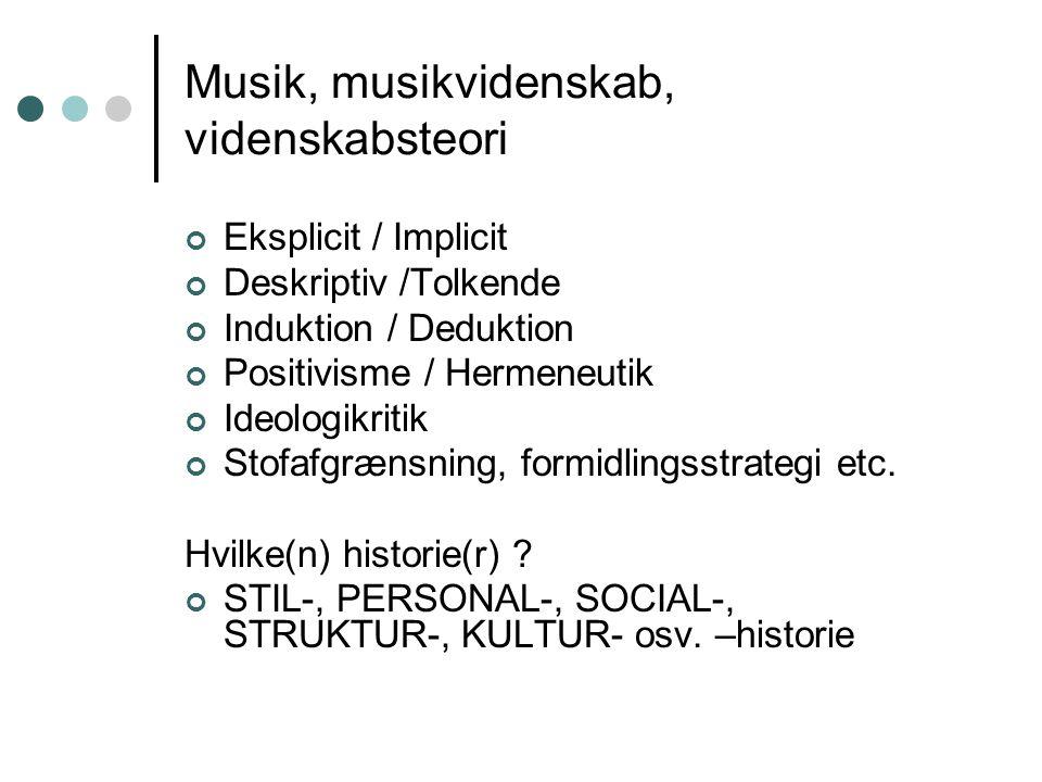 Musik, musikvidenskab, videnskabsteori Eksplicit / Implicit Deskriptiv /Tolkende Induktion / Deduktion Positivisme / Hermeneutik Ideologikritik Stofaf