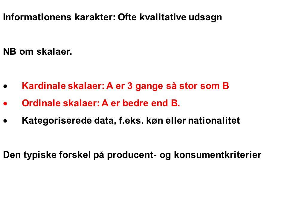 Informationens karakter: Ofte kvalitative udsagn NB om skalaer.
