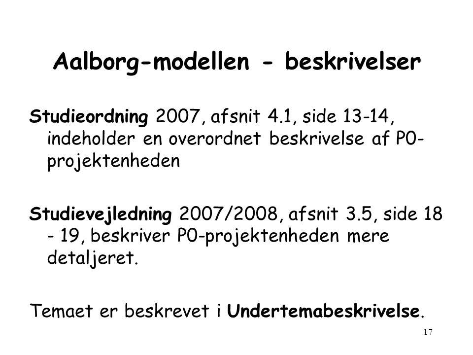 17 Aalborg-modellen - beskrivelser Studieordning 2007, afsnit 4.1, side 13-14, indeholder en overordnet beskrivelse af P0- projektenheden Studievejledning 2007/2008, afsnit 3.5, side 18 - 19, beskriver P0-projektenheden mere detaljeret.