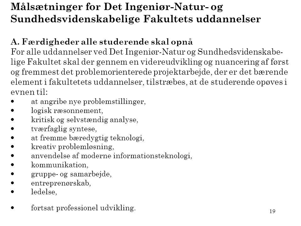 19 Målsætninger for Det Ingeniør-Natur- og Sundhedsvidenskabelige Fakultets uddannelser A.