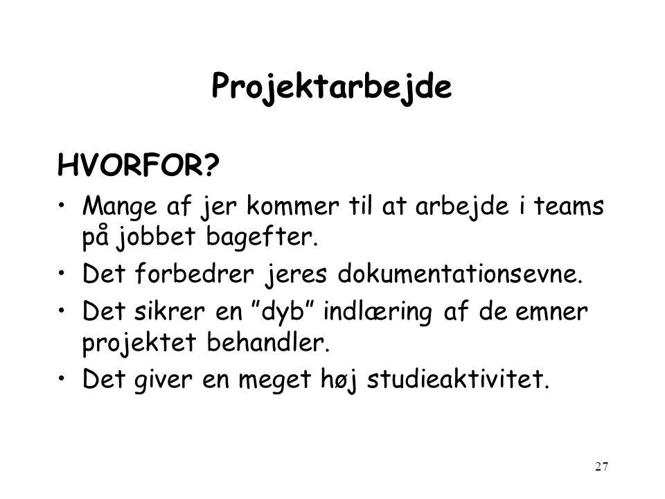 27 Projektarbejde HVORFOR. Mange af jer kommer til at arbejde i teams på jobbet bagefter.