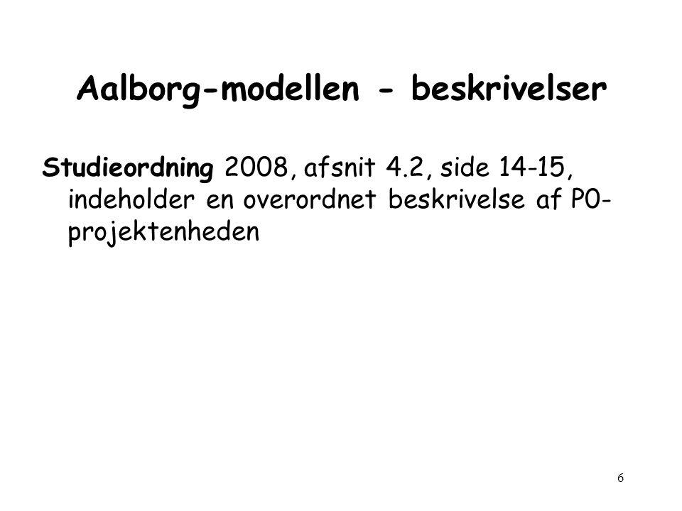 6 Aalborg-modellen - beskrivelser Studieordning 2008, afsnit 4.2, side 14-15, indeholder en overordnet beskrivelse af P0- projektenheden