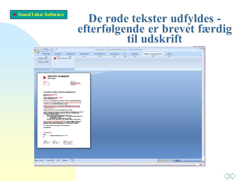 De røde tekster udfyldes - efterfølgende er brevet færdig til udskrift