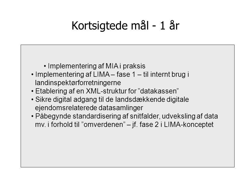 Kortsigtede mål - 1 år Implementering af MIA i praksis Implementering af LIMA – fase 1 – til internt brug i landinspektørforretningerne Etablering af en XML-struktur for datakassen Sikre digital adgang til de landsdækkende digitale ejendomsrelaterede datasamlinger Påbegynde standardisering af snitfalder, udveksling af data mv.