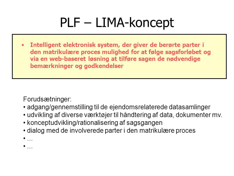 PLF – LIMA-koncept Intelligent elektronisk system, der giver de berørte parter i den matrikulære proces mulighed for at følge sagsforløbet og via en web-baseret løsning at tilføre sagen de nødvendige bemærkninger og godkendelser Forudsætninger: adgang/gennemstilling til de ejendomsrelaterede datasamlinger udvikling af diverse værktøjer til håndtering af data, dokumenter mv.