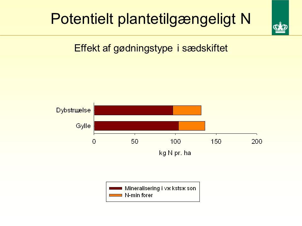 Effekt af gødningstype i sædskiftet Potentielt plantetilgængeligt N